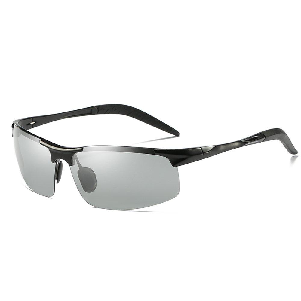 Topsports Photochromic Polarized Sunglasses Men Al-Mg Titanium Glasses Black)
