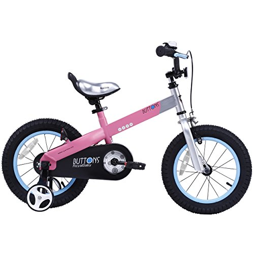 RoyalBaby CubeTube Kid's bikes, unisex children's bikes with training wheels, various trendy features, gifts for fashionable boys & girls, Matte Pink Buttons, 18 inch (Bicycle Boys 18inch)