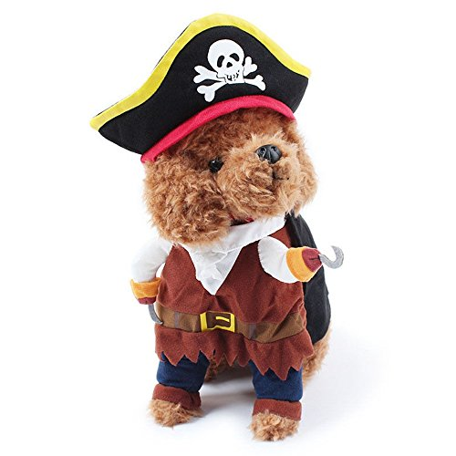 Dog Cat Costume Caribbean Pirate Suit Corsair Dressing Party Apparel Clothes Hat (M) - Amish Costume Australia