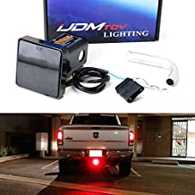 """iJDMTOY Smoked Lens 12-LED Super Bright Brake Light Trailer Hitch Cover Fit Towing & Hauling 2"""" Standard Size Receiver For Truck SUV RV, etc"""
