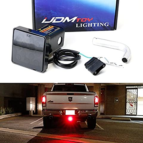 iJDMTOY Smoked Lens 12-LED Super Bright Brake Light Trailer Hitch Cover Fit Towing & Hauling 2