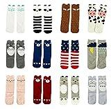 Gellwhu 12 Pairs Baby Girls Boys Cartoon Knee High Stockings Tube Socks 0-5Y