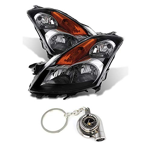 Nissan Altima Sedan Crystal Headlights Halogen Model Only (Not Compatible With Xenon/HID Model) Black Housing With Clear Lens+Free Gift Key Chain Spinning Turbo Bearing