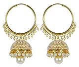 Meenaz Fashion Jewellery Traditional Gold plated Pearl Crystal Jhumki Jhumka Earrings for women party wear stylish designer Wedding Jewelry Set Ear ring studs for girls- jhumki earrings-195