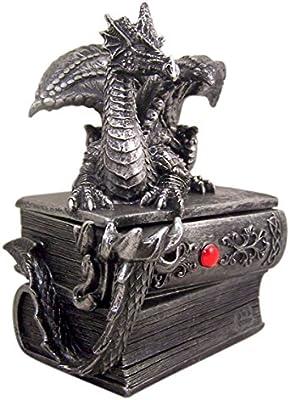 Mythical Guardian Dragon Gothic Book Keepsake Jewelry Box 8 1//4 Inch