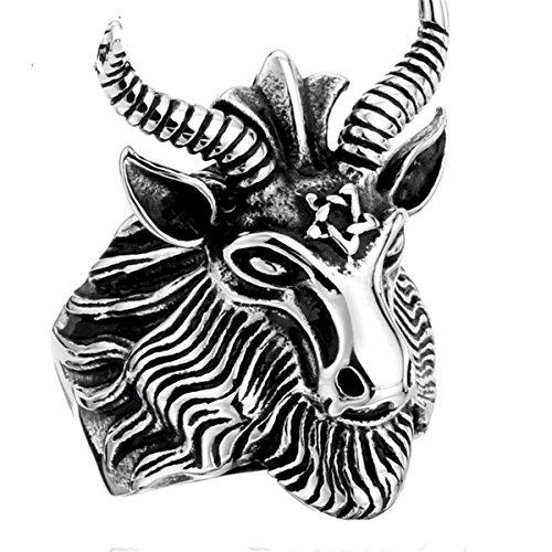 SUNSCSC Vintage Satan Worship Baphomet Ram Aries Zodiac Sheep Goat Head Horn Biker Ring (8) (Head Ring Ram)