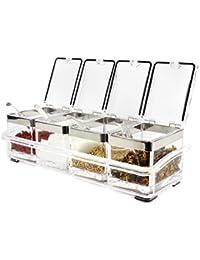 Gain Alinaaaa A-5 Kitchen Gourmet Acrylic Seasoning Box with 4 Serving Spoons discount