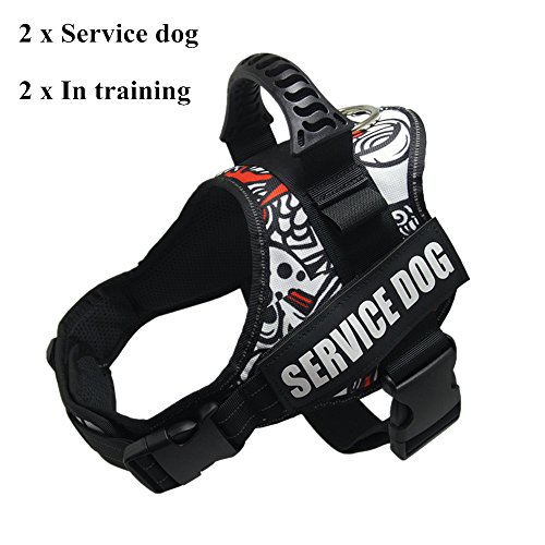 GOLDBELL Adjustable Service Dog Vest Harness With Reflective Service Dog Patches No Pull for Small Medium to Large Dog (Small: Neck Girth: 16-20 inch, White Mix)