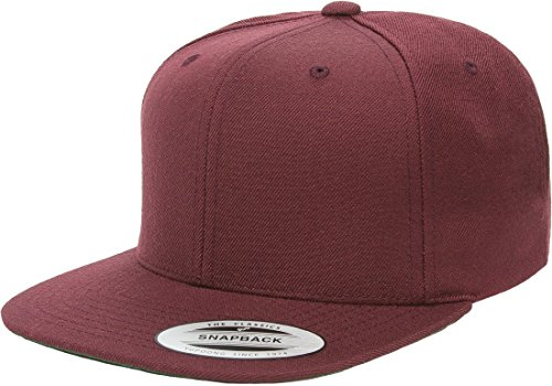 Flexfit/Yupoong 6089M,6089MT,6089CAMO 6 Panel Premium Classic Snapback Hat Cap (Maroon) (Maroon Classic Hat)