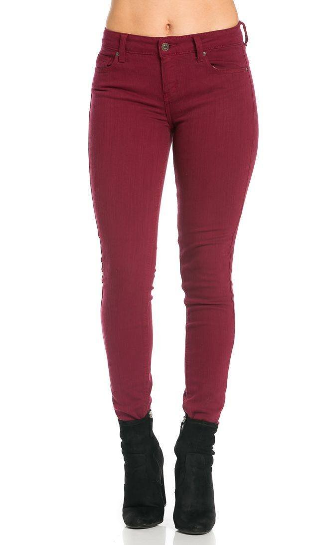 Mica Low Rise Skinny Jeans in Burgundy SOHO GLAM Sohogirl.com AMICASKINBUR