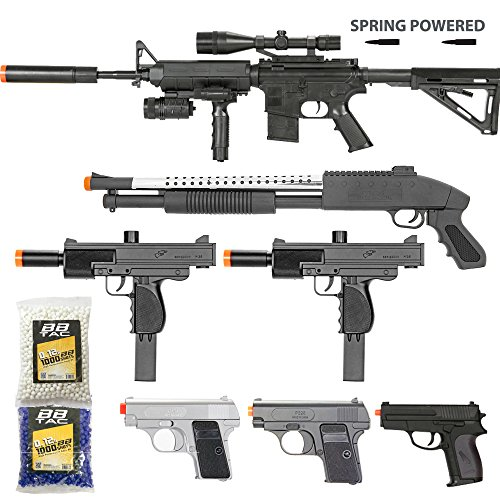 BBTac Airsoft Gun Package - Black Ops - Collection of Airsoft Guns - Powerful Spring Rifle, Shotgun, Two SMG, Mini Pistols and BB Pellets, Great for Starter Pack Game Play - Shotgun Air Rifles