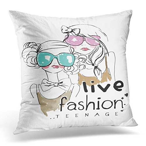 Upoos Throw Pillow Cover Pink Vintage Teenage Girl With Sunglasses