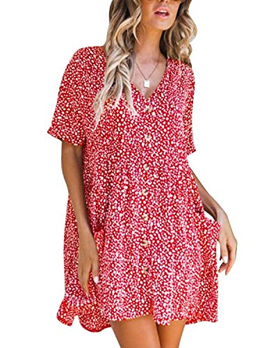 Casual Half Sleeve - Summer Dresses for Women Casual Half Sleeve Button Down Loose Tunic Tops Dress Red