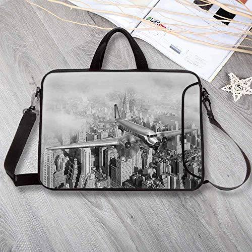 Vintage Custom Neoprene Laptop Bag,Nostalgic Dated Plane Flying Over Skyscrapers in New York City Urban Life Laptop Bag for Men Women Students,15.4