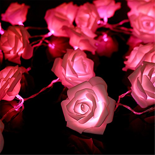 KINGSO Indoor String Pink Rose Lights 20 LED Battery Operated Flower Design Hanging Outdoor String Lights for Wedding Garden Christmas Decor Pink (Klar, Rose-boxen)