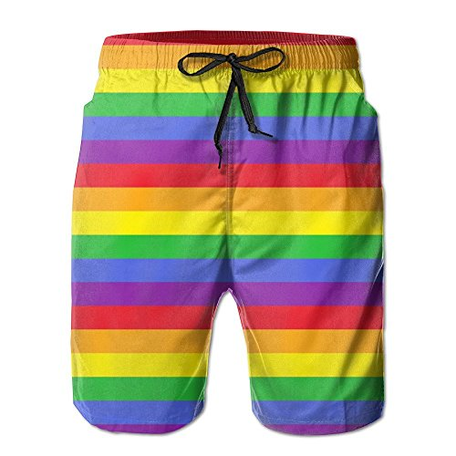 confirm vt Rainbow Stripes Men's Quick Dry Swim Trunks Beach Shorts Pants Home Shorts by confirm vt