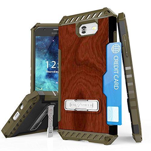 Spots8 Galaxy J3 Emerge, Luna Pro, Galaxy Express Prime 2, Sol 2, J3 Mission/ Eclipse, J3 Prime Case, Dual Layer Hybrid Phone Cover With Built in kickstand Screen Protector Wood (Luna Brown Wood)