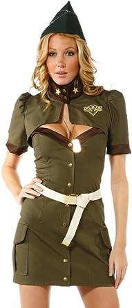 oluolin Mujer 4 Piezas Militar del Ejército de Pin Up Vestido ...