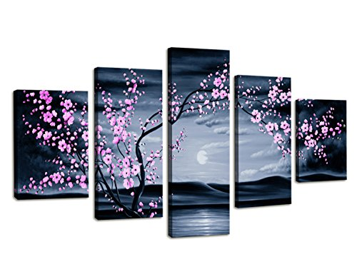 Moyedecor Art - 5 Pieces Modern Canvas Painting Wall Art The Picture for Home Decoration Purple Plum Blossom in Night View Sea View Print On Canvas Giclee Artwork for Wall Decor