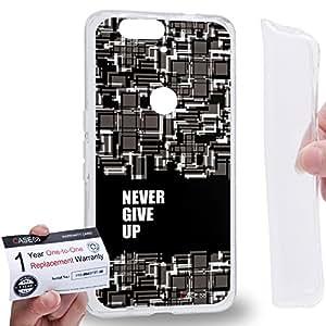 Case88 [Huawei Nexus 6P (2015)] Gel TPU Carcasa/Funda & Tarjeta de garantía - Art Fashion Never Give Up (Black) Hipster Inspiration