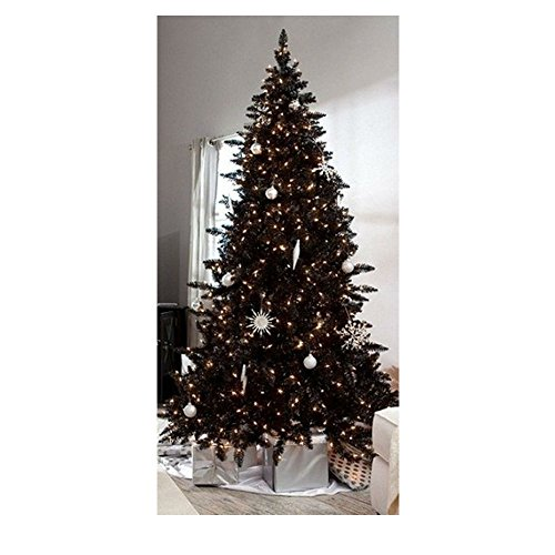 Pre-Lit 6.5' Madison Pine Artificial Christmas BLACK Tree with Clear lights New