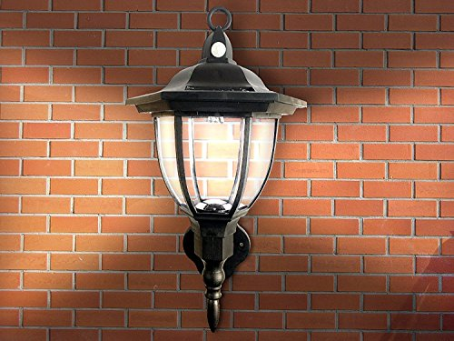 Solar Powered Wall Lamp- Motion Activated Security Lights- Wireless Outdoor Lantern- Beautiful Light Fixture- Garden Décor Accent Lighting- Best for Patio, Pool, Yard, Deck (Black)