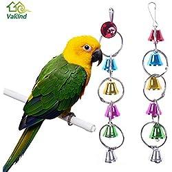 Viet-GT Bird Toys - Colorful Parrot Bird Toys Metal Ring Bell Hanging Cage Toys for Parrot Squirrel Parakeet Birds Pet Bird Accessories 1 PCs