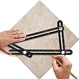 YANX Multi Angle Measuring Ruler Made of Premium Aluminum Alloy Template Tool for Craftsmen Handymen Carpenter DIY (Black)