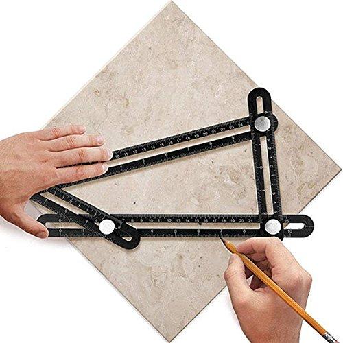 YANX Multi Angle Measuring Ruler Made of Premium Aluminum Alloy Template Tool for Craftsmen Handymen Carpenter DIY (Black) by YANX