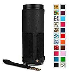 Fintie Protective Case for Amazon Echo - Premium Vegan Leather Cover Sleeve Skins (Upgraded Edition), Black