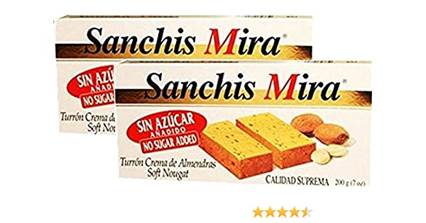 Sanchis Mira Sugar Free Turron de Jijona 7 oz Just arrived from Spain Pack of 2: Amazon.com: Grocery & Gourmet Food