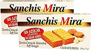 Sanchis Mira Sugar Free Turron de Jijona 7 oz Just arrived from Spain Pack of 2