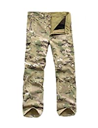 Men's Waterproof Military Softshell Tactical Pants Camping Hiking Fleece Pants