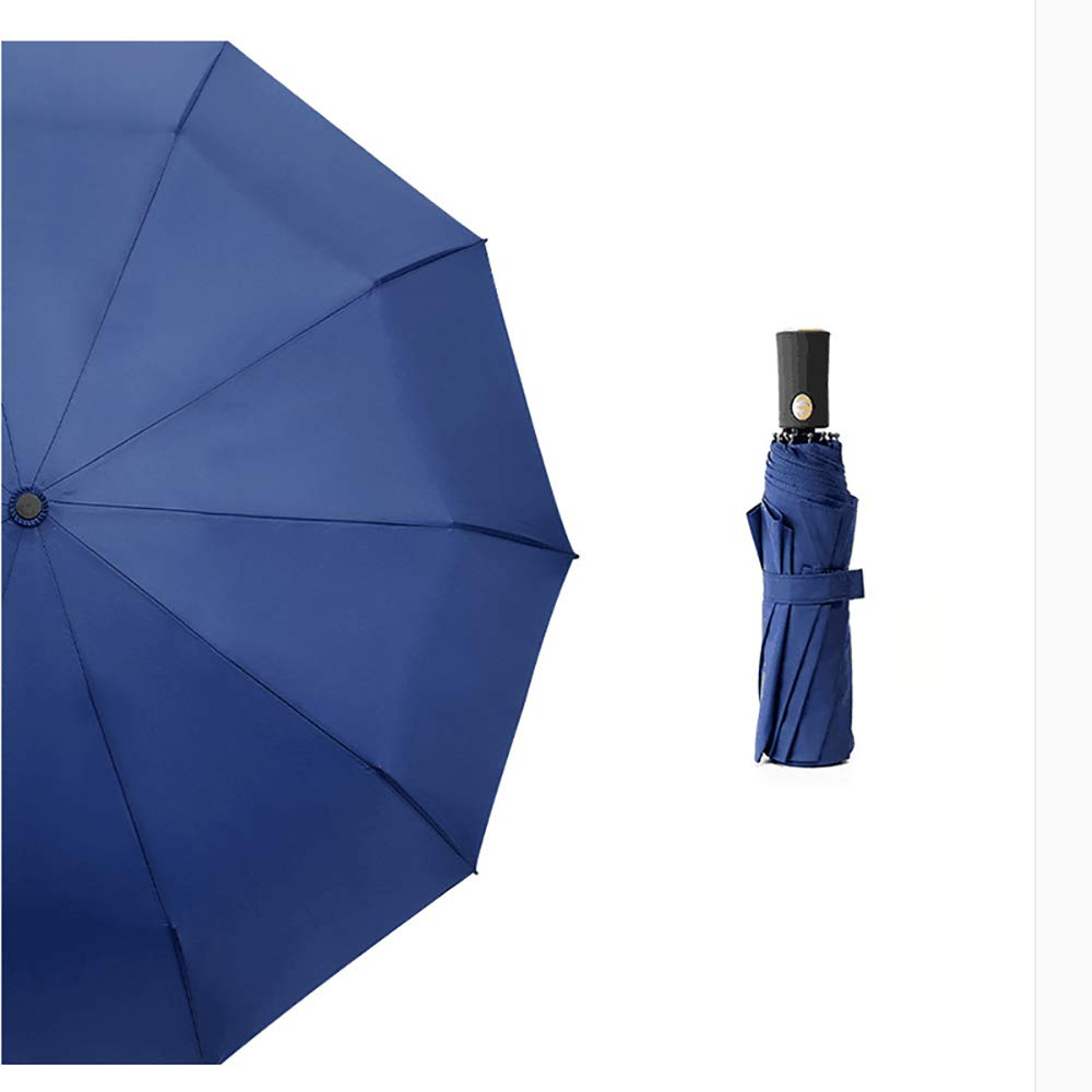 Black Umbrella Automatic Mens Three Fold Windproof Double Easy to Fold Business Umbrella Dual-use