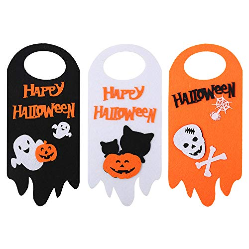 zagtag Happy Halloween Sign, Halloween Door Decorations, Pumpkin Ghost Skull Door Hanging Tag Sign Ornaments, Halloween Props for Halloween Party Home School Office Bar Showcase 3pcs