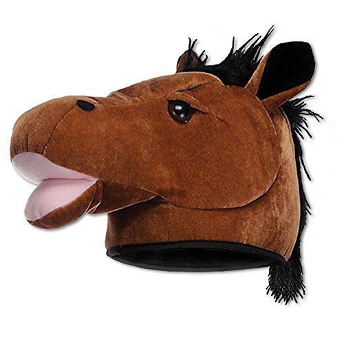 Whinny Plush Pony (Brown Soft Plush Horse Pony Head Hat)