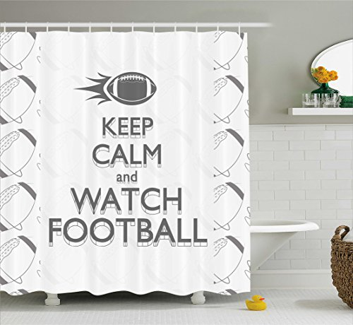 Football Shower Curtain by Ambesonne, American Sport Play Keep Calm Quote Monochrome Rocket Ball Vintage Label, Fabric Bathroom Decor Set with Hooks, 84 Inches Extra Long, Black White (Vintage Football Black And White)