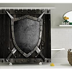 Ambesonne Medieval Decor Collection, Medieval Shield and Crossed Swords on Wood Gate Safety Security Military Style, Polyester Fabric Bathroom Shower Curtain Set with Hooks, Dark Wood Dimgrey