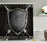 Ambesonne Medieval Decor Collection, Medieval Shield and Crossed Swords on Wood Gate Safety Security Military Style, Polyester Fabric Bathroom Shower Curtain, 75 Inches Long, Dark Wood Dimgrey