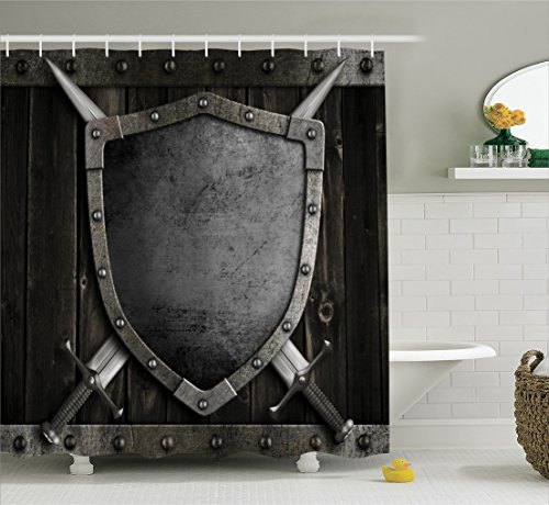 Ambesonne Medieval Decor Collection, Medieval Shield and Crossed Swords on Wood Gate Safety Security Military Style, Polyester Fabric Bathroom Shower Curtain, 75 Inches Long, Dark Wood Dimgrey by Ambesonne (Image #1)