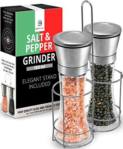 Salt & Pepper Grinder Set – 2 Tall 6 Oz Glass - 180 ml Spice and Sea Salt Shakers With BONUS Stand - Adjustable Coarseness Mills – Easy To Clean ()