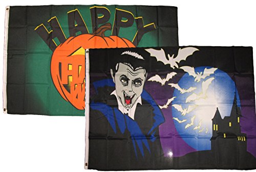 ALBATROS 3 ft x 5 ft Happy Halloween 2 Pack Flag Set Combo #50 Banner Grommets for Home and Parades, Official Party, All Weather Indoors Outdoors