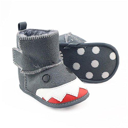 Ouneed® Krabbel schuhe , Herbst Winter Baby Mädchen Jungen Krippe Tier Stiefel Soft Sohle Prewalker Warm Schuhe Grau