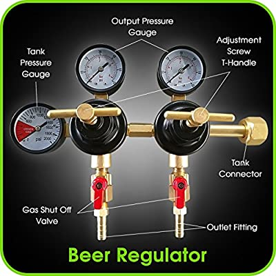 "Co2 Beer Regulator Two Product Dual Pressure Kegerator Heavy Duty Features T-Style Adjusting Handle - 0 to 60 PSI-0 to 3000 Tank Pressure CGA-320 Inlet w/ 3/8"" O.D. Safety Discharge 50-55 PSI"