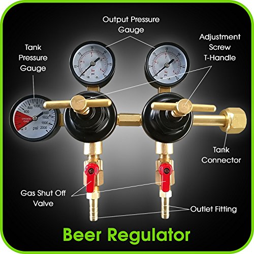 Co2 Beer Regulator Two Product Dual Pressure Kegerator Heavy Duty Features T-Style Adjusting Handle - 0 to 60 PSI-0 to 3000 Tank Pressure CGA-320 Inlet w/ 3/8