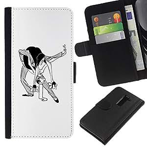 A-type (Danza Hombre Mujer Caricatura del arte divertido) Colorida Impresión Funda Cuero Monedero Caja Bolsa Cubierta Caja Piel Card Slots Para LG G2 D800