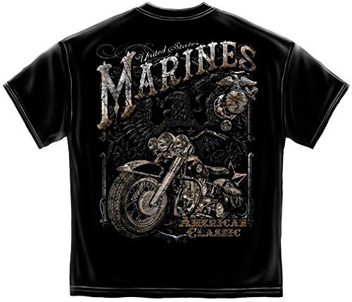 Erazor Bits Marine Corps T Shirt USMC Marine Biker American Clasic Silver Foil American Flag Marine Corps US Army Air Force US Navy Patriotic 100% Cotton T Shirt Black ADD60-MM2143L (Silver Usmc Marine)