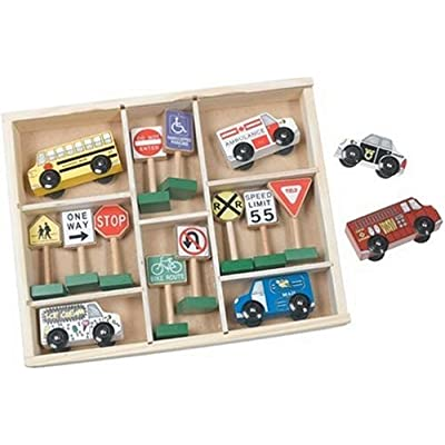 Melissa & Doug Deluxe Wooden Vehicles & Traffic Signs: Melissa & Doug: Toys & Games