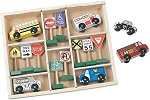 Melissa & Doug Deluxe Wooden Vehicles & Traffic Signs