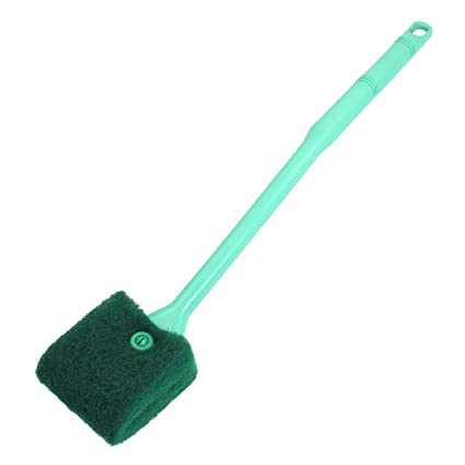 uxcell Green Plastic Handle Sponge Cleaning Brush Cleaners for Fish Tank 16  inches Long